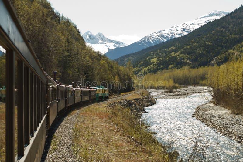 在白色通行证的风景铁路和育空路线在Skagway阿拉斯加 免版税图库摄影