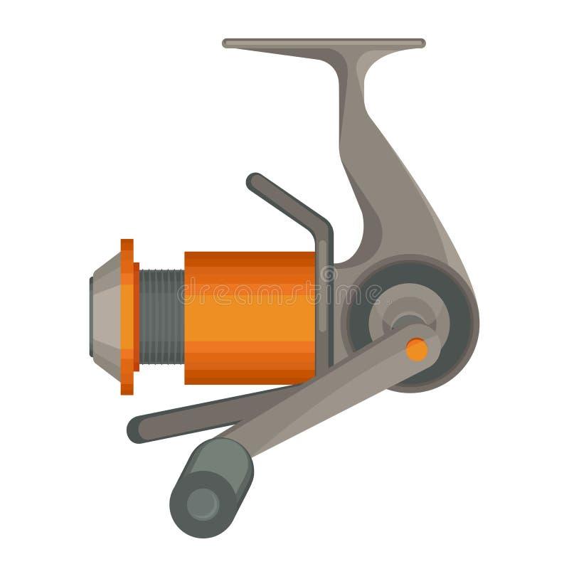 在白色钓鱼的橙色转动的卷轴在平的设计隔绝的 库存例证
