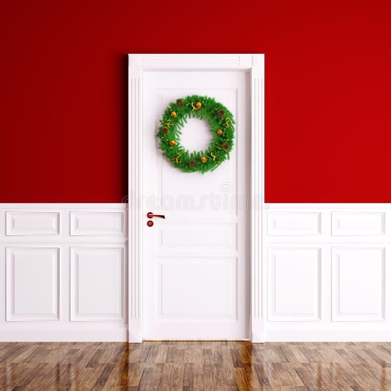在白色门3d翻译的圣诞节花圈 皇族释放例证