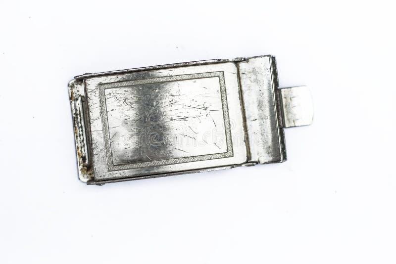 在白色隔绝的一条皮带的扣 免版税图库摄影