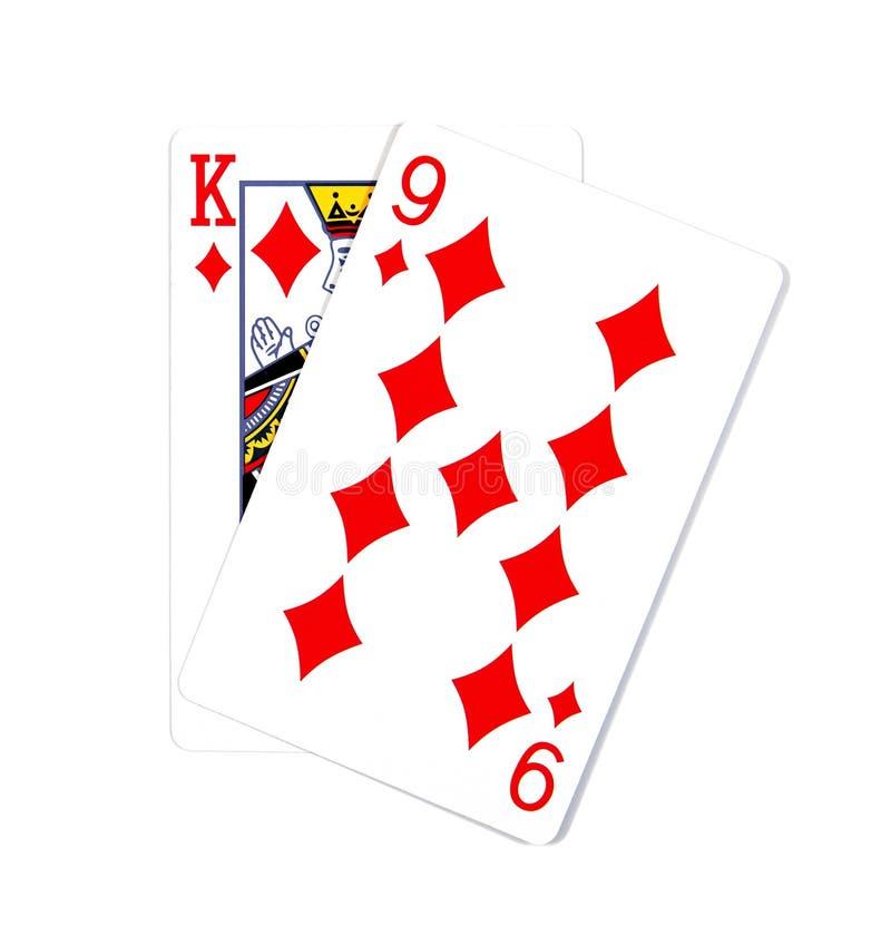 在白色隔绝的两张卡片 K和9张纸牌在被隔绝的金刚石 免版税库存图片