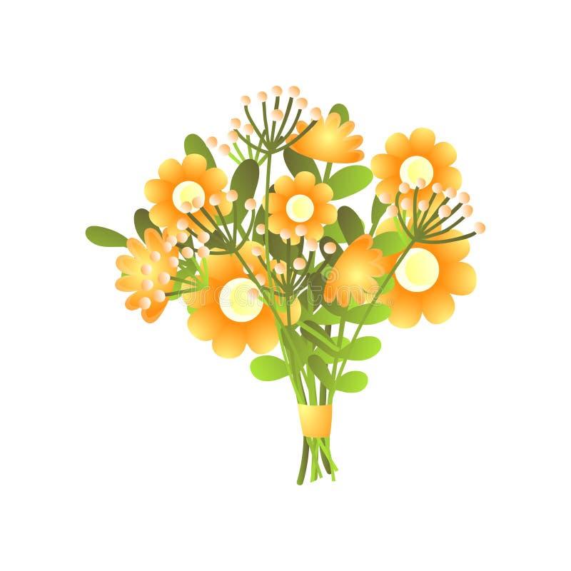 在白色隔绝的五颜六色的新鲜的黄色盛开花花束 皇族释放例证