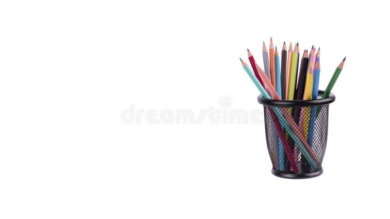 在白色隔绝的五颜六色的铅笔 免版税库存照片