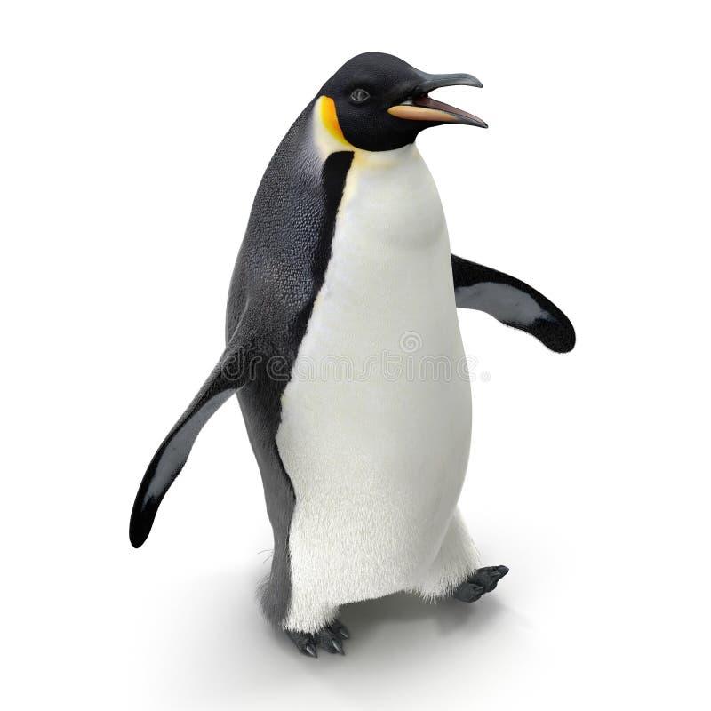 在白色隔绝的企鹅国王 3d例证 库存图片