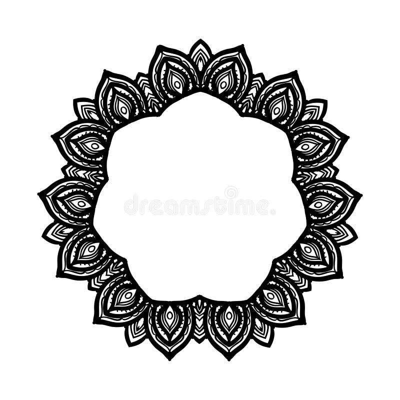 在白色隔绝的传染媒介圆的坛场框架黑手党图画织地不很细背景卡片 库存例证