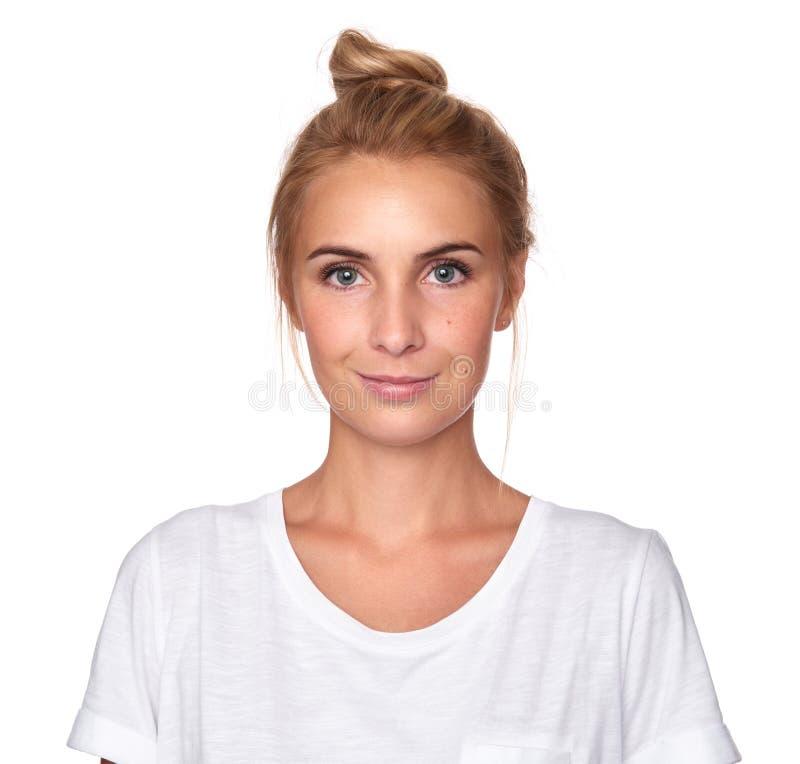 在白色隔绝的俏丽的妇女面孔 库存照片