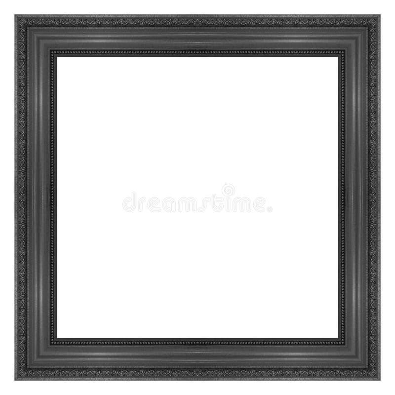 在白色隔绝的古色古香的黑相框 免版税库存图片
