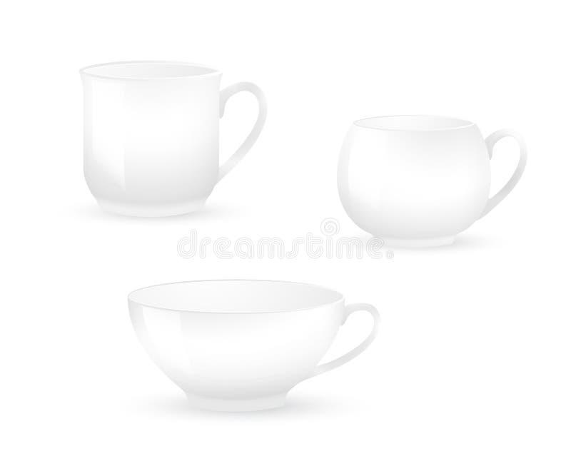 在白色隔绝的各种各样的加奶咖啡杯子的汇集 库存例证