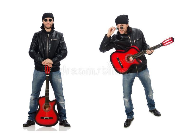 在白色隔绝的吉他演奏员 图库摄影