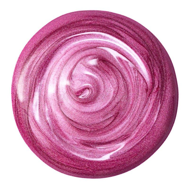 在白色隔绝的唇彩 被弄脏的桃红色构成产品样品 库存照片