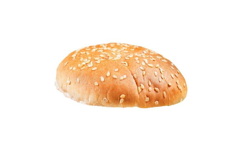 在白色隔绝的圆的三明治小圆面包 库存照片
