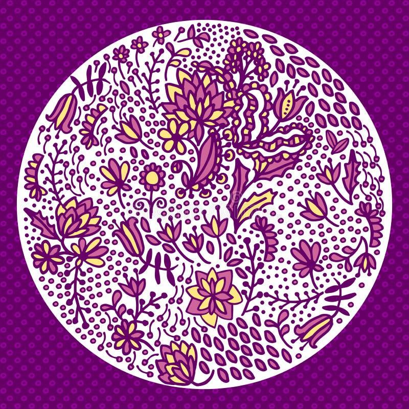 在白色隔绝的圆的花卉图案 皇族释放例证