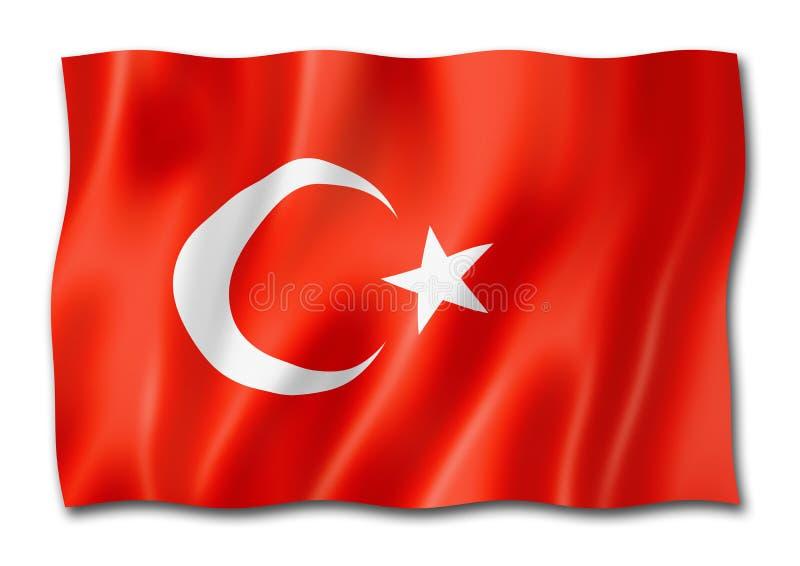 在白色隔绝的土耳其旗子 向量例证
