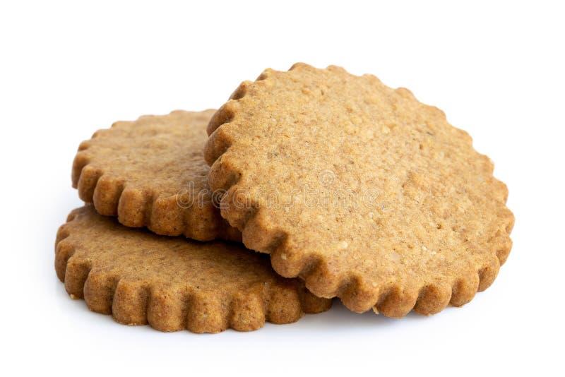 在白色隔绝的堆三个圆的姜饼饼干 Se 免版税图库摄影