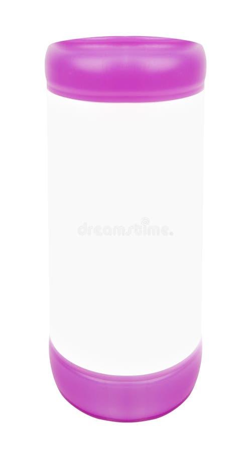 在白色隔绝的塑料体育水瓶 免版税图库摄影