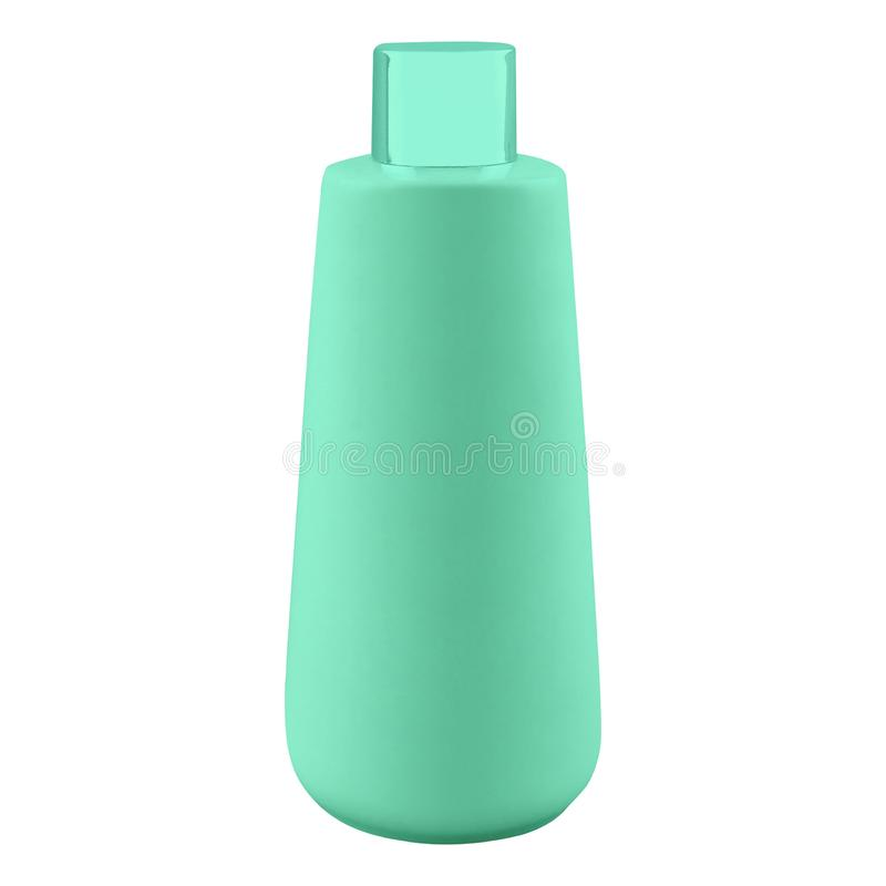 在白色隔绝的塑料香波瓶 图库摄影