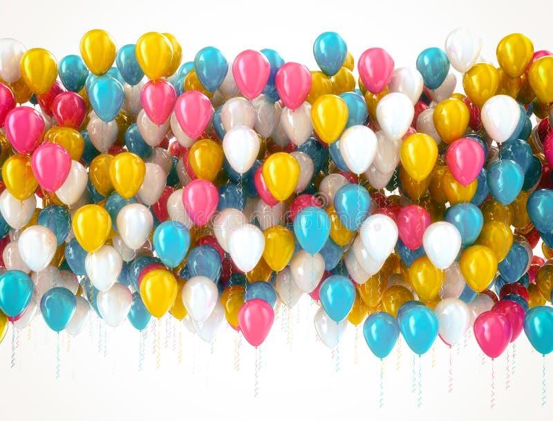 在白色隔绝的多颜色气球 向量例证