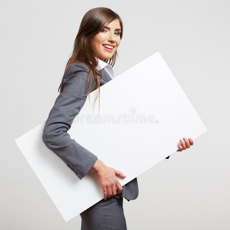 在白色隔绝的女商人画象 库存图片