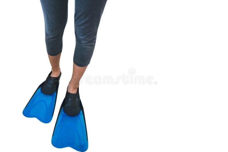 在白色隔绝的女孩的腿的鸭脚板 库存照片