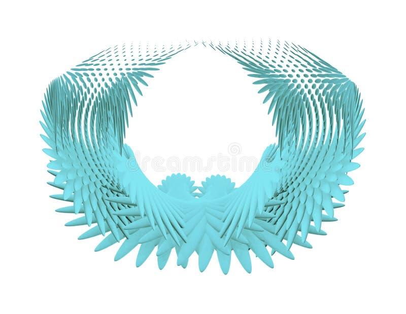 在白色隔绝的守护天使翼 向量例证