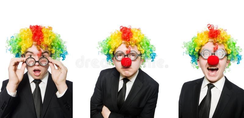 在白色隔绝的小丑商人 免版税库存照片