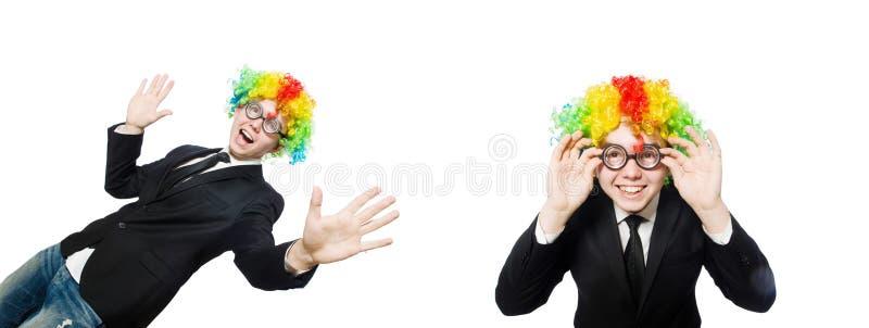 在白色隔绝的小丑商人 免版税库存图片