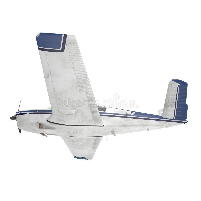 在白色隔绝的小乘客螺旋桨推进式飞机 3d例证 向量例证