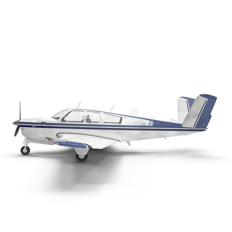 在白色隔绝的小乘客螺旋桨推进式飞机 3d例证 皇族释放例证