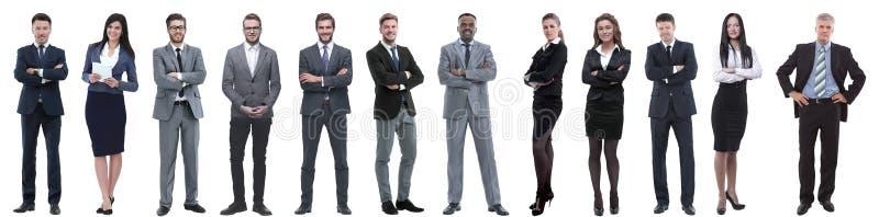 在白色隔绝的小组成功的商人 库存照片