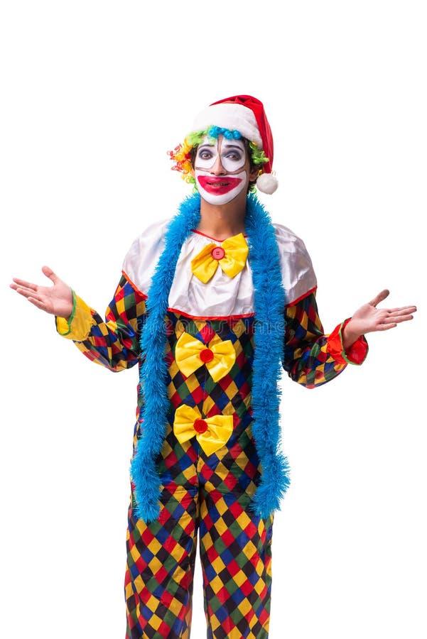 在白色隔绝的年轻滑稽的小丑喜剧演员 库存照片