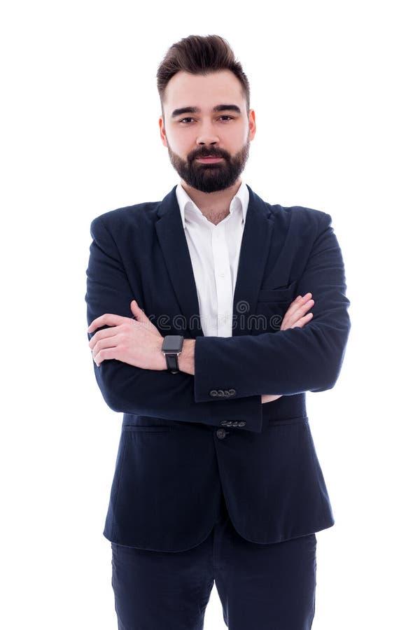 在白色隔绝的年轻英俊的有胡子的商人 免版税库存图片