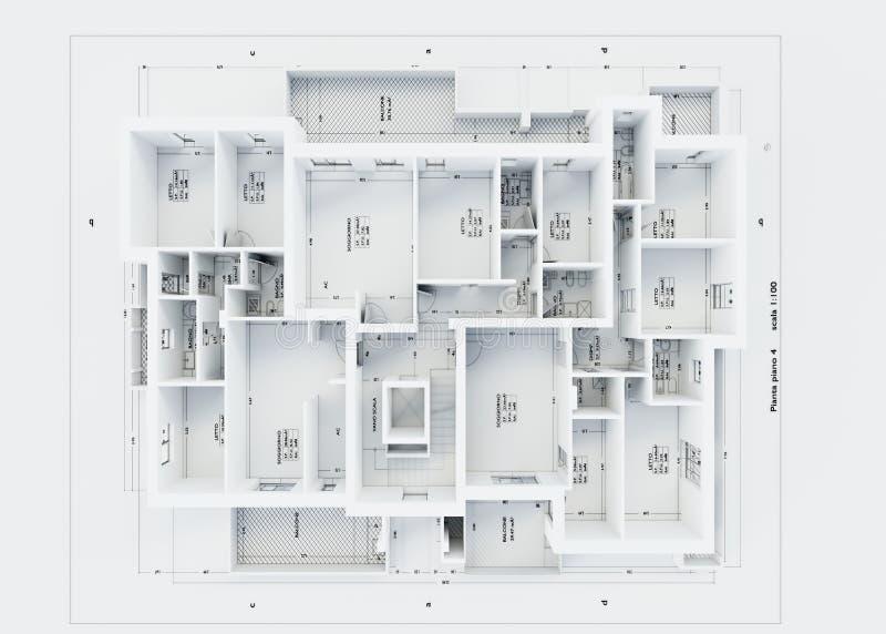 在白色隔绝的建筑学计划 库存例证