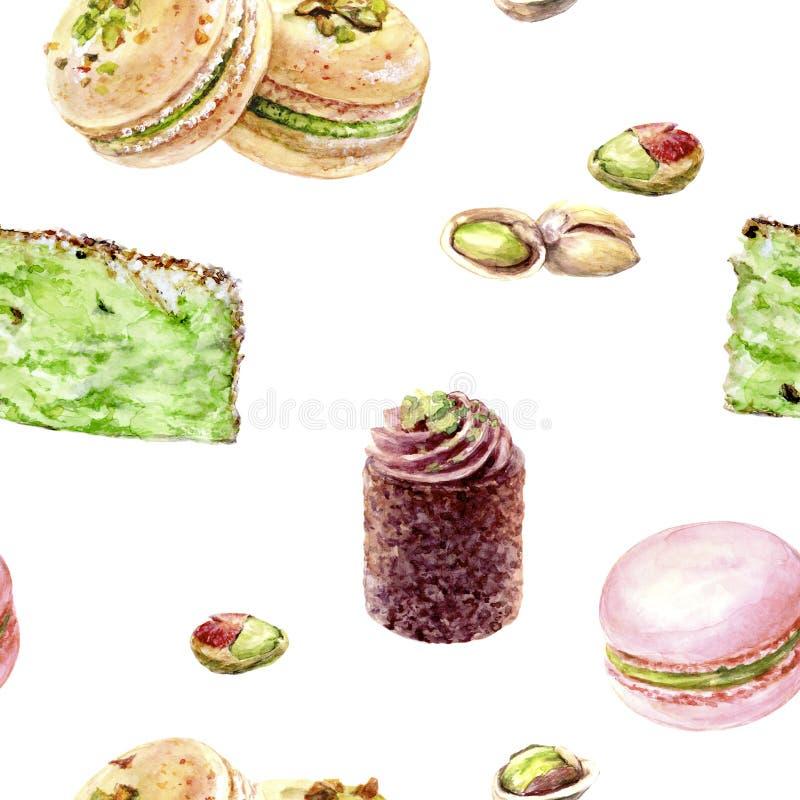 在白色隔绝的开心果蛋糕无缝的样式水彩例证 免版税库存图片