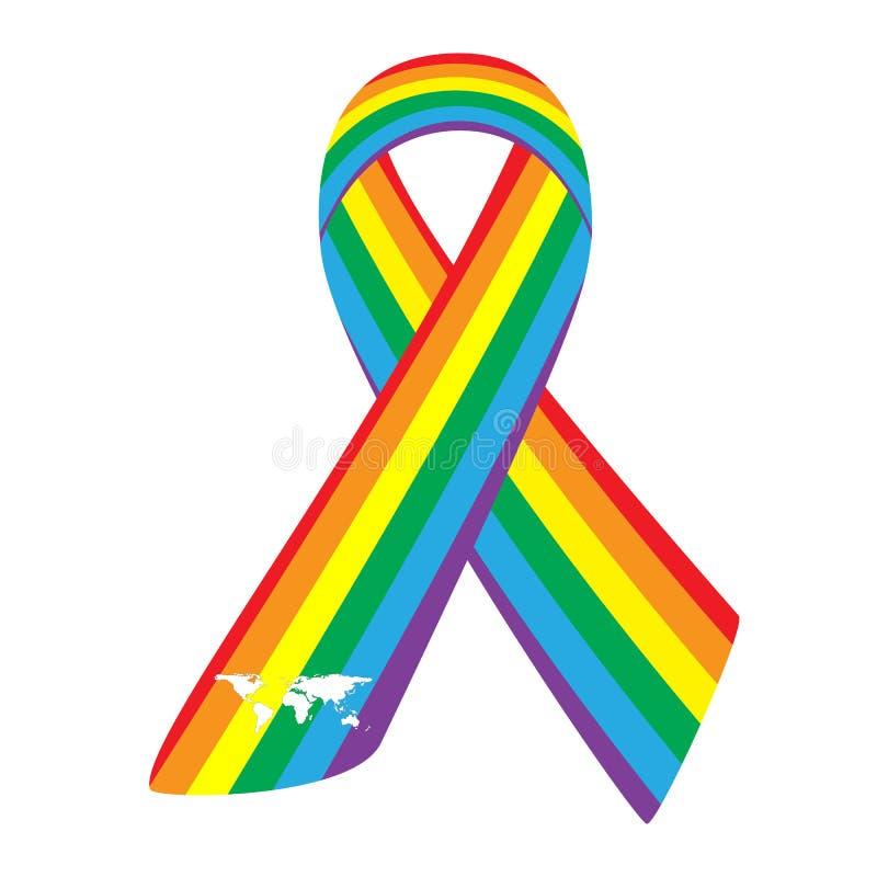 在白色隔绝的彩虹丝带 标志同性恋者平等, LGBT社区 传染媒介例证象快乐自豪感旗子 向量例证