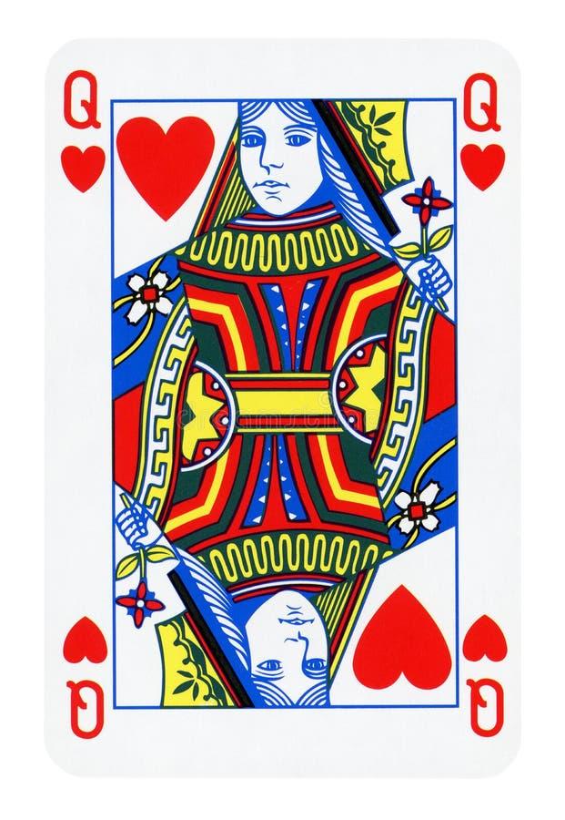 在白色隔绝的心脏的女王/王后 免版税库存图片