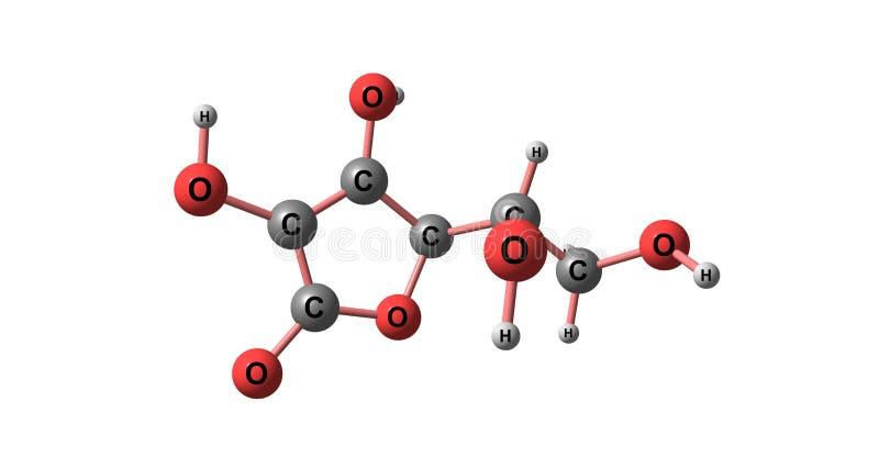 在白色隔绝的抗坏血酸分子结构 皇族释放例证