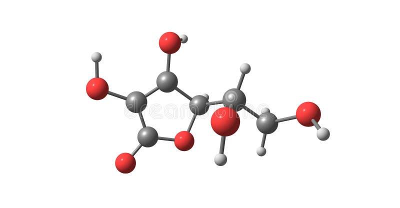 在白色隔绝的抗坏血酸分子结构 库存例证
