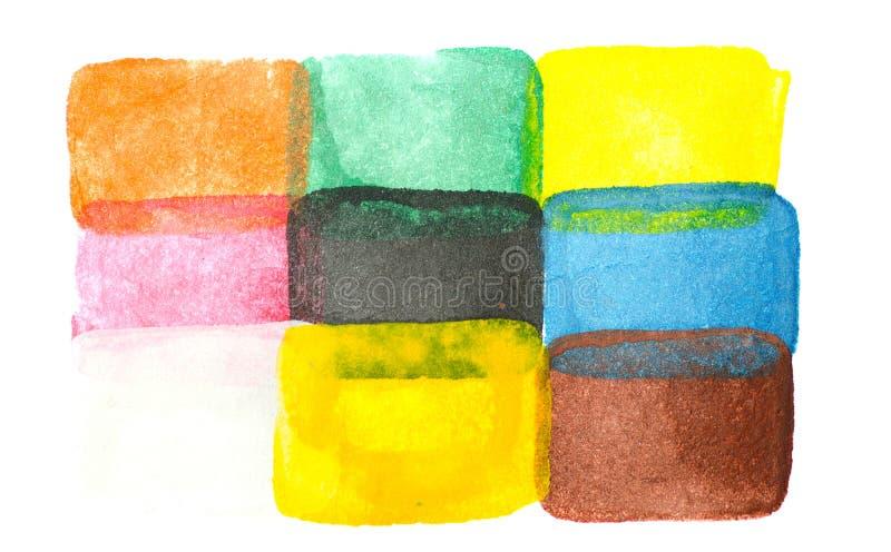 在白色隔绝的抽象水彩长方形 免版税库存照片