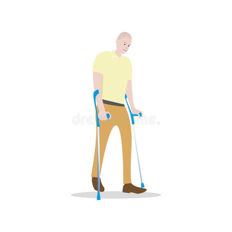 在白色隔绝的拐杖的人 人以伤残 向量例证