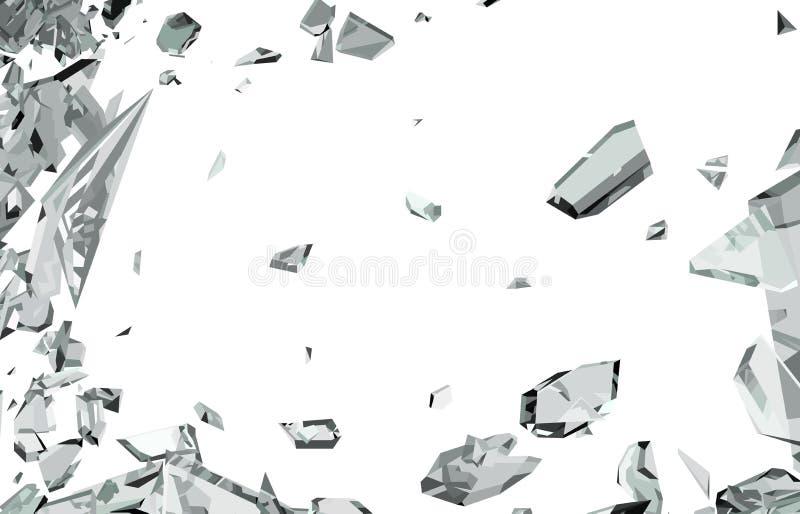 在白色隔绝的捣毁的和被打碎的玻璃 向量例证