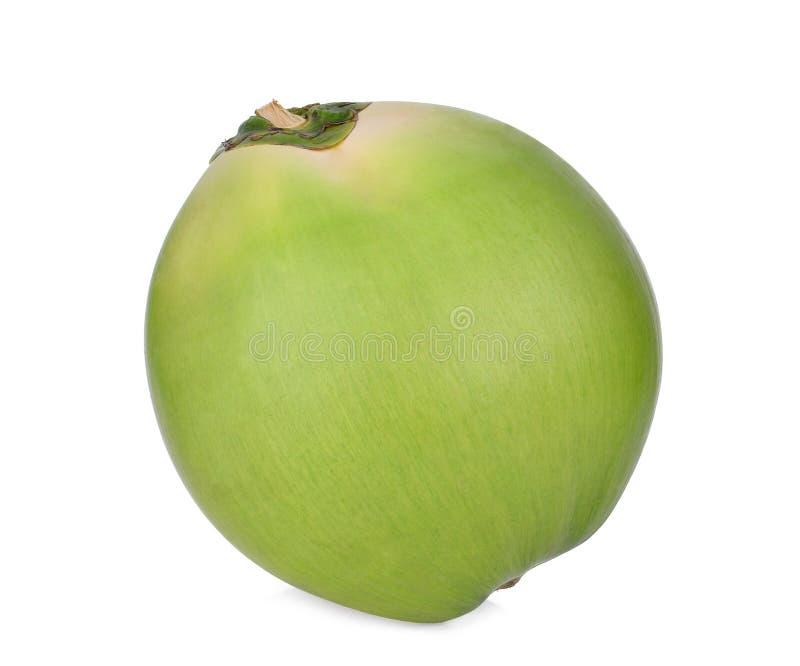 在白色隔绝的整体新鲜的绿色椰子果子 免版税库存照片