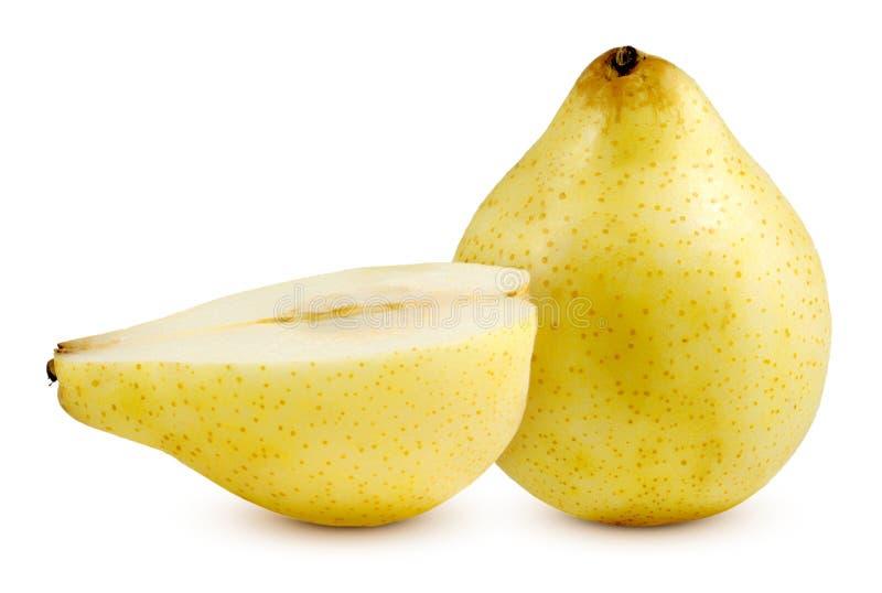 在白色隔绝的新鲜的梨果子 库存照片