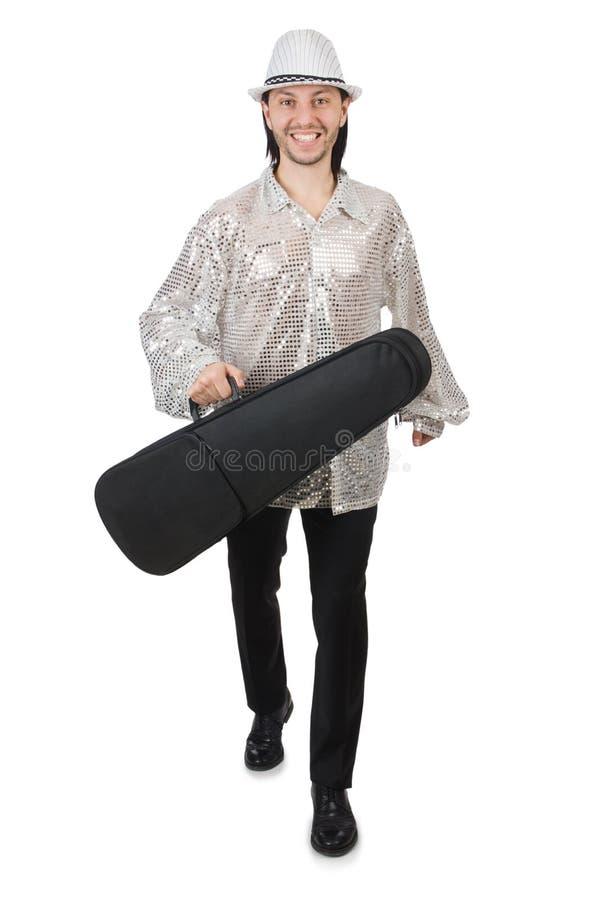 在白色隔绝的旅行的音乐家 免版税库存照片