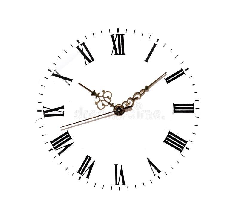在白色隔绝的时钟表盘 库存照片