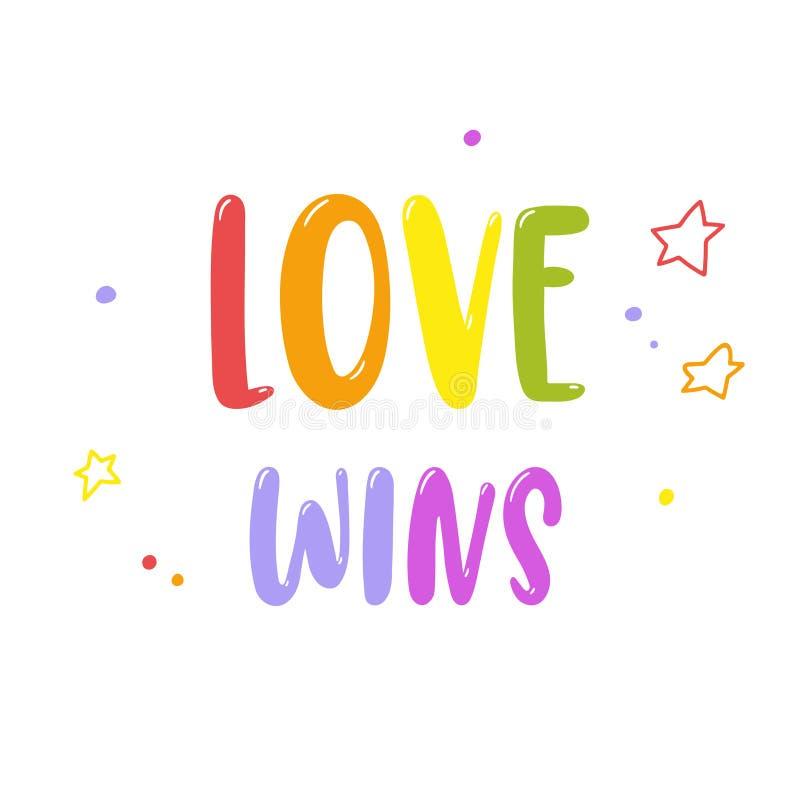 在白色隔绝的明亮的彩虹题字爱胜利 同性恋自豪日字法 LGBT纠正概念 边界月桂树离开橡木丝带模板向量 库存例证