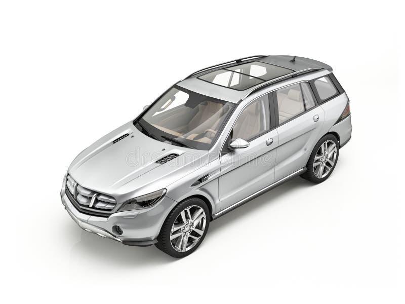 在白色隔绝的普通豪华银SUV汽车 免版税库存照片