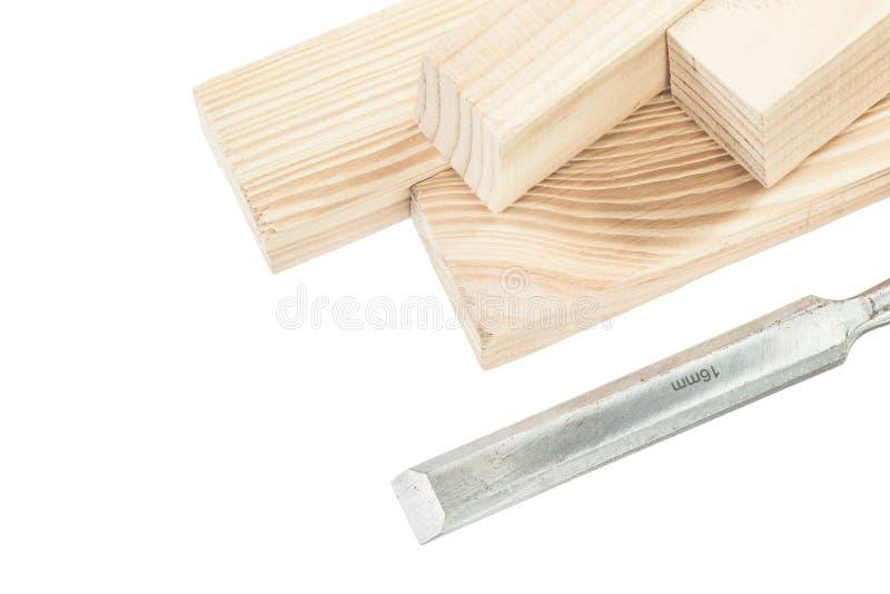 在白色隔绝的木板条凿子 免版税库存图片
