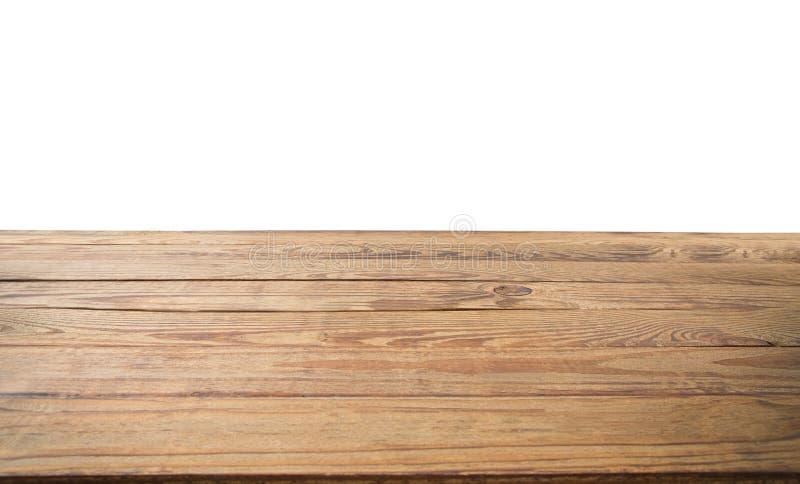 在白色隔绝的木桌纹理背景 复制空间并且嘲笑  顶视图和模板 横幅木地板 地方食物 库存图片