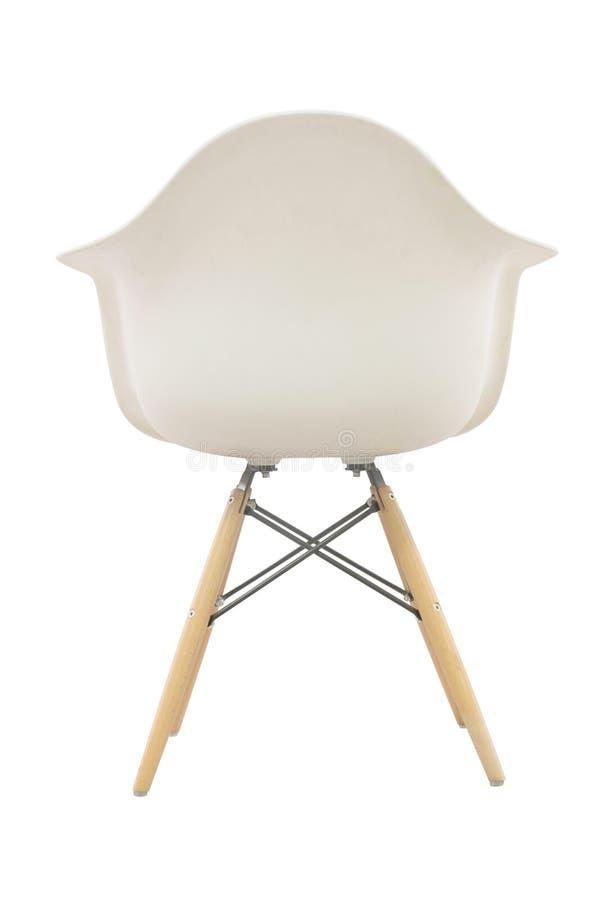 在白色隔绝的木舒适的椅子 图库摄影
