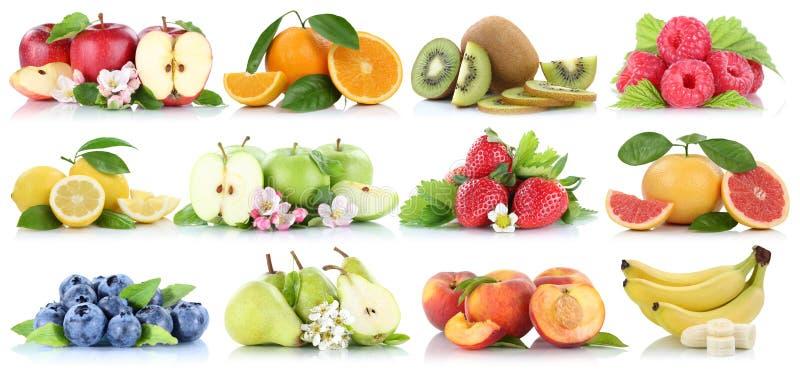 在白色隔绝的果子汇集橙色苹果苹果香蕉蓝莓草莓 免版税图库摄影
